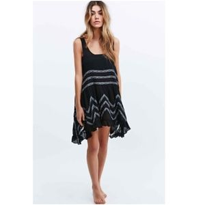 NWOT Free People Voile and Lace Trapeze Slip Black